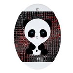 Panda Bear on Black and Red Ornament (Oval)