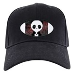 Panda Bear on Black and Red Baseball Hat