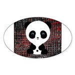 Panda Bear on Black and Red Sticker
