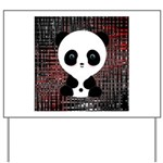 Panda Bear on Black and Red Yard Sign