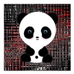 Panda Bear on Black and Red Square Car Magnet 3