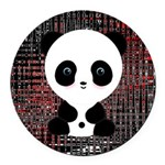 Panda Bear on Black and Red Round Car Magnet