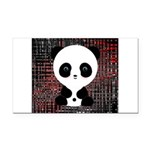 Panda Bear on Black and Red Rectangle Car Magnet