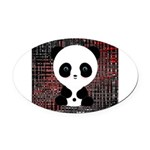 Panda Bear on Black and Red Oval Car Magnet