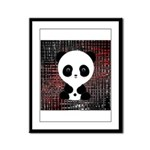 Panda Bear on Black and Red Framed Panel Print