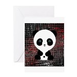 Panda Bear on Black and Red Greeting Cards