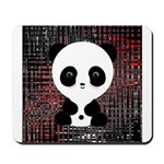 Panda Bear on Black and Red Mousepad
