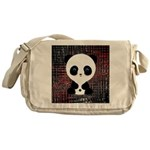 Panda Bear on Black and Red Messenger Bag
