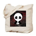 Panda Bear on Black and Red Tote Bag