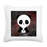 Panda Bear on Black and Red Square Canvas Pillow