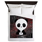 Panda Bear on Black and Red Queen Duvet