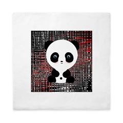 Panda Bear on Black and Red Queen Duvet