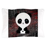 Panda Bear on Black and Red Pillow Case