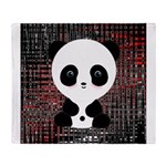 Panda Bear on Black and Red Throw Blanket