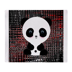 Panda Bear on Black and Red Throw Blanket