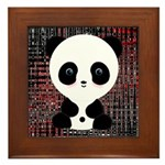 Panda Bear on Black and Red Framed Tile