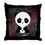 Panda Bear on Black and Red Throw Pillow