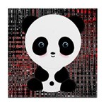 Panda Bear on Black and Red Tile Coaster