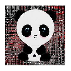 Panda Bear on Black and Red Tile Coaster