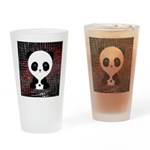 Panda Bear on Black and Red Drinking Glass