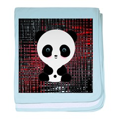 Panda Bear on Black and Red baby blanket