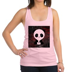 Panda Bear on Black and Red Racerback Tank Top