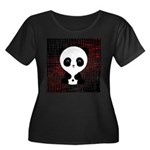 Panda Bear on Black and Red Plus Size T-Shirt