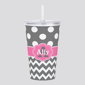 Gray Pink Chevron Dots Personalized Acrylic Double