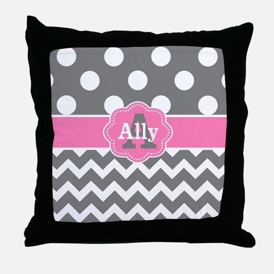 Gray Pink Chevron Dots Personalized Throw Pillow