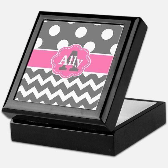 Gray Pink Chevron Dots Personalized Keepsake Box