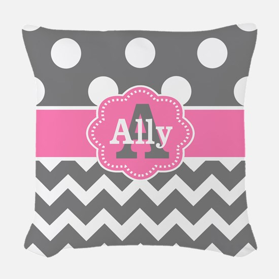 Gray Pink Chevron Dots Personalized Woven Throw Pi