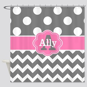 Gray Pink Chevron Dots Personalized Shower Curtain