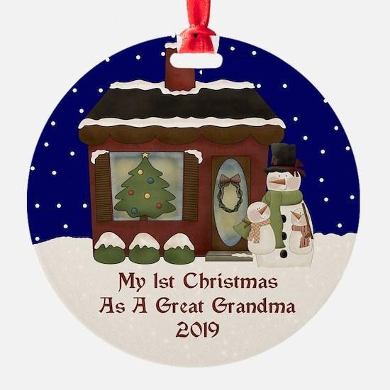 1St Christmas As A Great Grandma 2019 Ornament