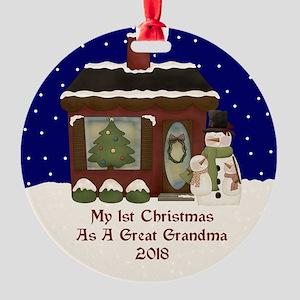 1St Christmas As A Great Grandma 2018 Ornament