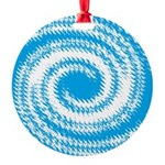 Teal and White Swirl Ornament