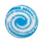 Teal and White Swirl Ornament (Round)