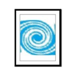 Teal and White Swirl Framed Panel Print