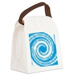 Teal and White Swirl Canvas Lunch Bag