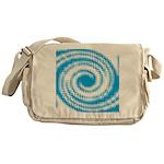 Teal and White Swirl Messenger Bag