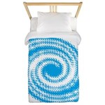 Teal and White Swirl Twin Duvet