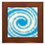 Teal and White Swirl Framed Tile