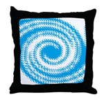 Teal and White Swirl Throw Pillow