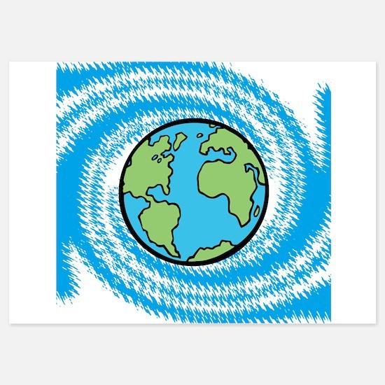 Earth on Blue Swirl Invitations
