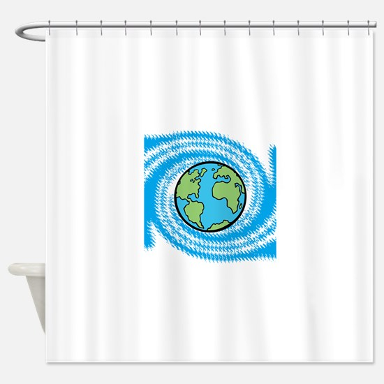 Earth on Blue Swirl Shower Curtain