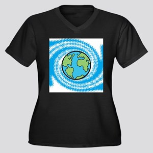 Earth on Blue Swirl Plus Size T-Shirt