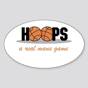 Hoops A Real Mans Game Oval Sticker