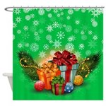 Green Christmas Presents Shower Curtain