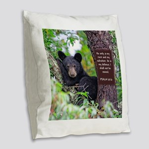 Baby Black Bear - Psalms 62-6 Burlap Throw Pillow