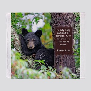 Baby Black Bear - Psalms 62-6 Throw Blanket