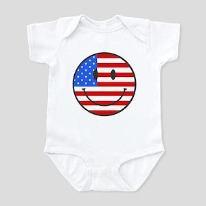 Smiley Face Fourth Of July Infant Bodysuit